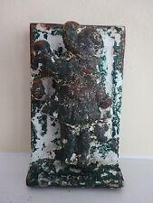 Vintage Cottage Chic Chippy Iron Door Knocker-Girl with Bonnet Knocking on Door