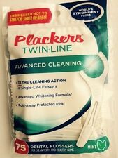 75 ea. Plackers Dental Flossers Twin-Line Advanced Cleaning Floss Mint Flavor