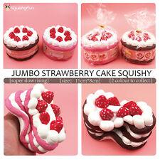 1PC 11CM Jumbo Strawberry Cake Squishy Charm Soft Slow Rise Christmas Gift Toy#