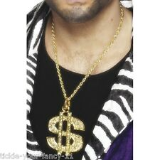Linea Donna Uomo Simbolo del dollaro Medallion COLLANA CATENA Bling Gangster RAPPER 50 cent