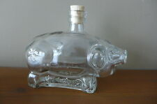 Pig Shape Glass Bottle with four-leaf clover on the back, cute bottle, shop