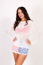 Vintage American Flag High waist denim shorts