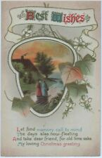 POSTCARD - BEST WISHES - CHRISTMAS -  EMBOSSED