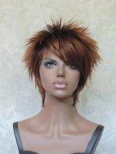 Short Spikey Side Swept Bangs, Brown/Auburn Full Synthetic Wig Wigs - #30