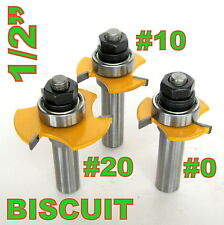 "3pc 1/2"" SH  Biscuit #20, #10 and #0 Joint Cutter Router Bit Set  sct-888"
