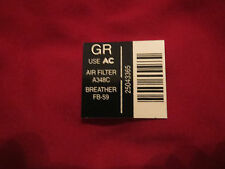 1984 CHEVROLET MONTE CARLO SS AIR CLEANER BASE / FILTER PART NUMBER DECAL