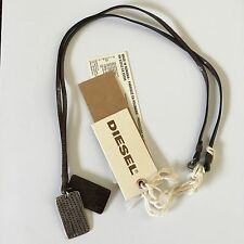 Diesel Mens Amipo Brown Dog Tags Necklace Leather Metal BNWT BN 34 Jeans RRP £49