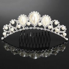 Pearl Rhinestone inlay Crown Tiara Wedding Bride's Hair Comb