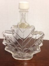 MAPLE LEAF SMALL CLEAR GLASS BOTTLE JAR EMPTY CLEANED WITH CAP LID