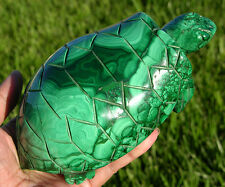 """Gorgeous 5.8"""" Huge Green Malachite Crystal Turtle Carving, Solid Gemstone, Great"""