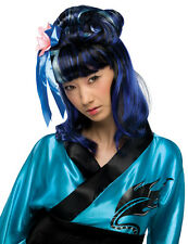Womens Asian Wig Black Blue Streaks Ninja Samurai Oriental Kimono Geisha Hair