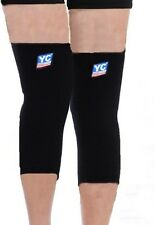 Pair of Black Elasticated Knee Shin Calf Support Brace Compression Sleeve Gym