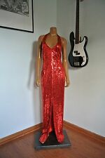 Ted Lapidus Paris Red Dress Beaded Sequined Deco Trophy Gatsby/14/XL
