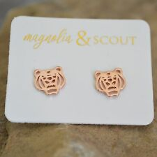 Rose Gold Plated Tiger Head Stud Earrings / Clemson Auburn LSU Tigers!