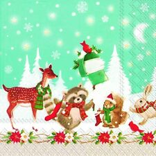 CHRISTMAS POST cute animals festive paper napkins traditional english 20 in pack
