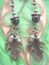 Oak Leaf & Acorns Bronze Earrings Garnet Gemstone Beads Hedgewitch Pagan