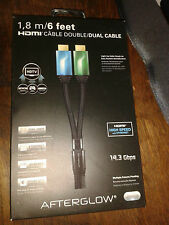 AFTERGLOW 1.8 M 6F HDMI DUAL CABLE PS3 PC Xbox 360 Wii U PC * BOX DAM