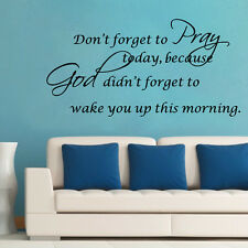 Christian Vinyl Removable Pray God DIY Quotes Wall Stickers Home Decals Bible