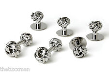 NEW Men's Silver Two Sided Love Knots Cuff Links & Studs Formal Gift Box Set