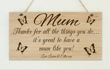 Personalised Wooden Plaque Thanks Mum Nanny Grandma Mothers Day Gift Present