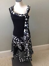 Ell Jay Collection Black White Top Blouse Skirt Polka Dots Tiered Flouncy 4