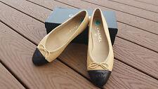 CHANEL Beige Patent Cap Toe Bow Ballet Ballerina Flat Shoes $795 EXCELLENT 38M