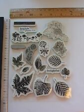 New Lot of 17 Mostly Leaves Cling Mount Stamps - Tim Holtz