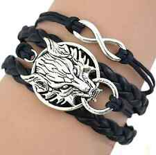 Final Fantasy VII Wolf and Infinity Black Braided Leather/Hemp Bracelet