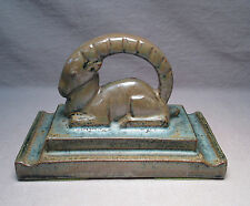 Rare Art Deco Style American Encaustic Tiling Co.  Ram / Gazelle Paperweight