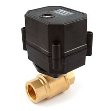 """1/2"""" NPT Motorized Ball Valve, 110/120 to 220/240 VAC Brass 2-wire Normally Open"""