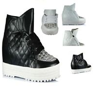 NEW WOMENS  HI TOPS CELEBRITY STYLE SHOES BOOTS WEDGE TRAINERS QUILTED ANKL SIZE