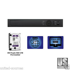 8 Channel Tribrid DVR for HD-TVI/Analog/IP with 2 TB WD Purple HDD Pre-Installed