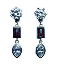 Vintage 1.64ct Marquise Diamond Ruby Earring Jackets 14K White Gold Estate