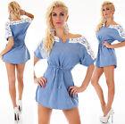 JEANS TUNIKA SHIRT SPITZE Jeans KLEID Minikleid Bluse Blau Gr. S, M, L, XL