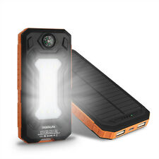 Orange 50000mah Solar Panel Power Bank 2USB 9LED Pack Battery Charger For iPhone
