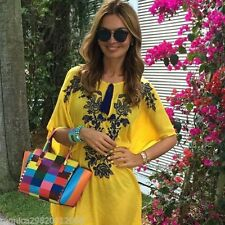 ZARA ZARA YELLOW EMBROIDERED KAFTAN BEACH TUNIC DRESS SZE MEDIUM BLOGGERS