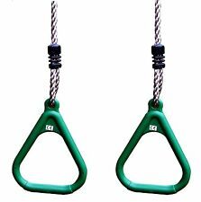 HIKS® Green  Adjustable Gym Rings Childrens Kids Outdoor Climbing Frame Swings