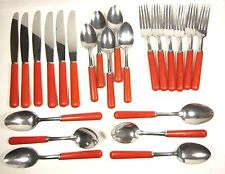 Mid Century Flatware Vintage Red Plastic Handle Stainless Steel 23 Pieces