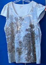 EUC Pretty KNIT TOP by STYLE & Co JEANS Blue w. some BLING Made in INDIA Sz L