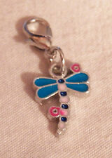Dragonfly Dangle Charm w/ Lobster Clasp - Silver-tone - NEW