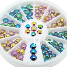 2 Colors AB Iridescent Nail Art Decoration Round Metal Studs+Wheel #N508N-1