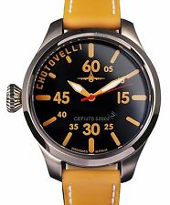 Chotovelli Mens Pilot Aviator Watch Black dial Italian Camel leather strap 52.02
