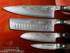 Japanese Damascus Vg10 Steel Chef's Nakiri Santoku Fruit Paring Knife Set New