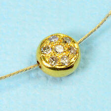 5.5MM 18k Solid Yellow Gold Champagne Diamond Coin Spacer Bead Finding