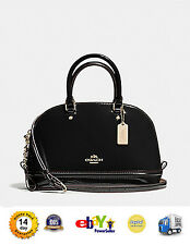 New Coach F55445 Mini Sierra Satchel in Patent Leather Handbag Crossboday Black