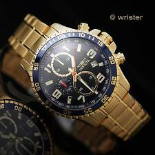 Invicta Specialty 18k Gold SS Chronograph Tachymeter Blue Black Dial Men's Watch
