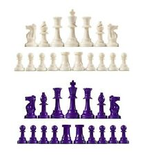 Staunton Single Weight Chess Pieces - Full Set of 34 White & Purple - 4 Queens