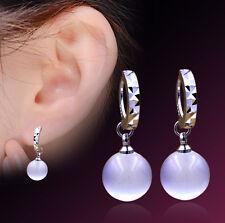 Fashion Jewellery Silver Cat Eye / Opal Round Hoop Leverback Drop Earrings