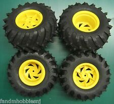 New Tamiya Black Foot Xtreme Monster Pin Spike Tire Set w/ Yellow Rim, Not Glued