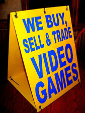 WE BUY, SELL & TRADE VIDEO GAMES Sandwich Board Sign  A-Frame Kit NEW Yellow